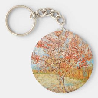 Árbol de melocotón rosado de Van Gogh en llavero d