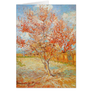 Árbol de melocotón rosado de Van Gogh en tarjeta d
