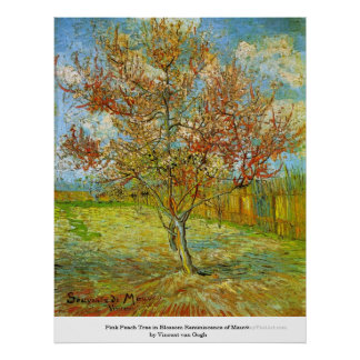 Árbol de melocotón rosado en flor de Vincent van G Posters