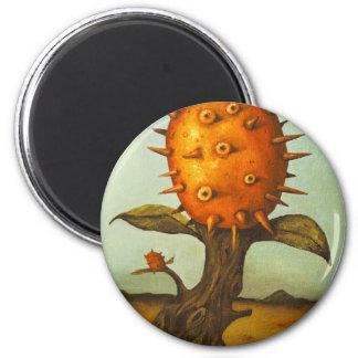 Árbol de melón surrealista imán redondo 5 cm