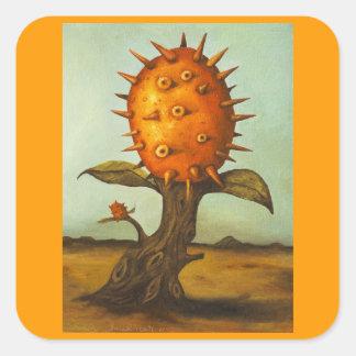 Árbol de melón surrealista pegatina cuadrada