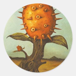 Árbol de melón surrealista pegatina redonda