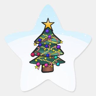 Árbol de navidad 2 pegatina en forma de estrella