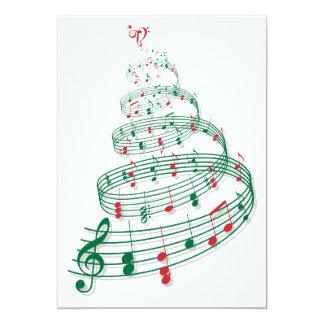 """Árbol de navidad abstracto con las notas de la invitación 5"""" x 7"""""""