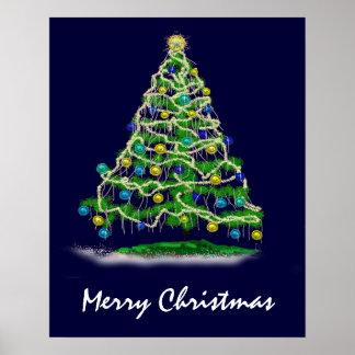 Árbol de navidad abstracto de los Arty en azul de  Póster