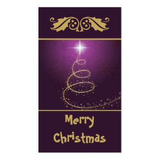 Árbol de navidad abstracto de oro en brillar inten plantillas de tarjetas de visita