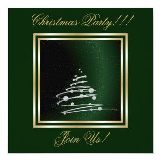 """Árbol de navidad abstracto de plata en verde invitación 5.25"""" x 5.25"""""""