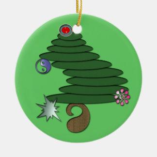 Árbol de navidad abstracto adorno redondo de cerámica