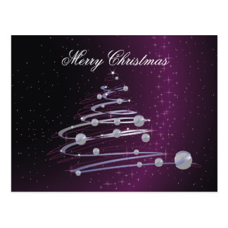Árbol de navidad abstracto en la postal púrpura