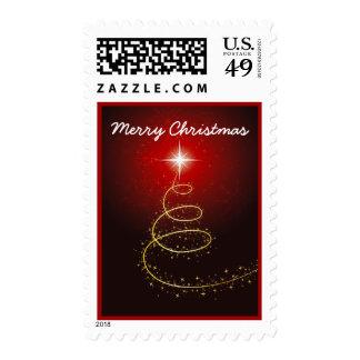 Árbol de navidad abstracto en sello rojo
