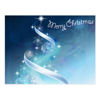 Árbol de navidad abstracto y mágico de los copos tarjetas postales
