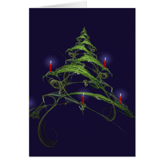 Árbol de navidad adornado con las velas tarjeta de felicitación