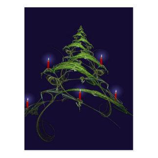 Árbol de navidad adornado con las velas tarjeta postal