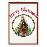Árbol de navidad adornado con los presentes tarjetas