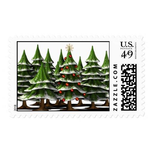 Árbol de navidad adornado en un bosque pacífico estampillas