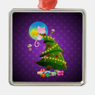 Árbol de navidad adorno cuadrado plateado