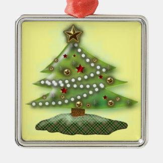 Árbol de navidad adorno navideño cuadrado de metal