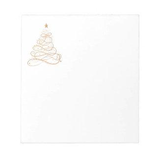 Árbol de navidad afiligranado metálico del oro bloc de notas