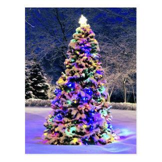 Árbol de navidad afuera postal