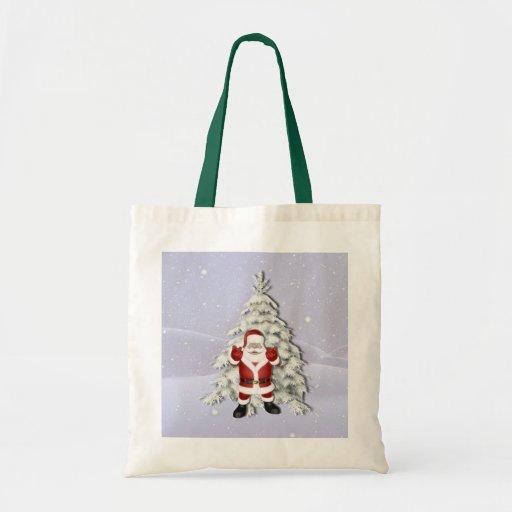 Árbol de navidad alegre de Santa y Nevado Bolsas