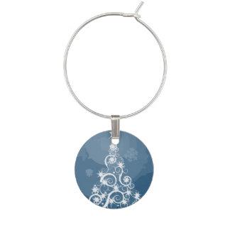 Árbol de navidad azul artsy identificadores de copas