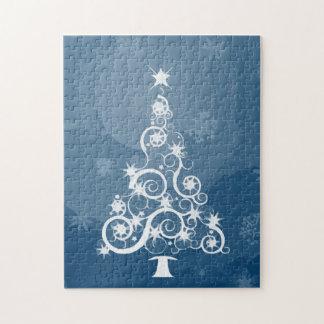 Árbol de navidad azul artsy rompecabeza con fotos