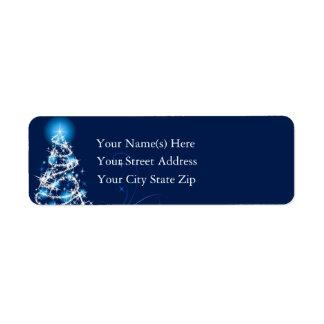 Árbol de navidad azul brillante etiqueta de remitente
