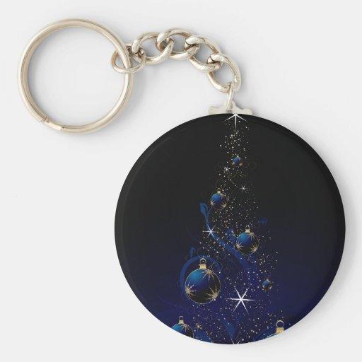 Árbol de navidad azul brillante llavero