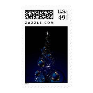 Árbol de navidad azul brillante sellos postales