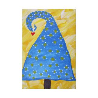 Árbol de navidad azul caprichoso lona envuelta para galerías