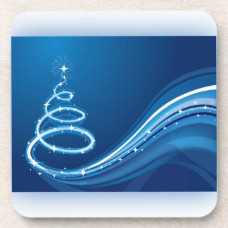 Árbol de navidad azul del remolino posavasos de bebidas