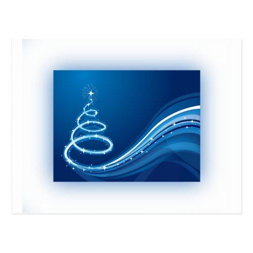 Árbol de navidad azul del remolino postal