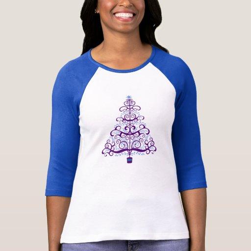 Árbol de navidad azul púrpura elegante camiseta