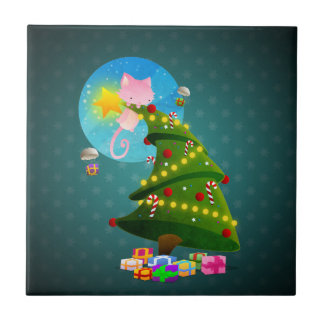 Árbol de navidad azulejo cuadrado pequeño
