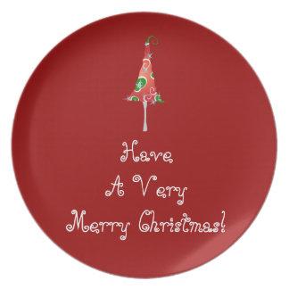 Árbol de navidad banal platos para fiestas