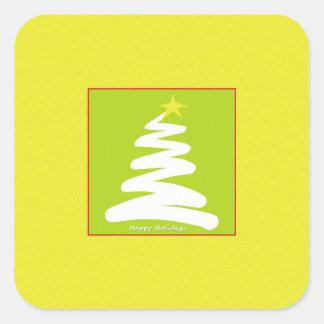 Árbol de navidad blanco abstracto en el oro calcomanía cuadradas personalizadas