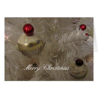Árbol de navidad blanco adornado tarjeta de felicitación