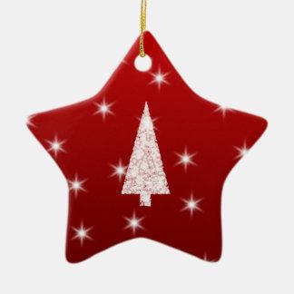 Árbol de navidad blanco con las estrellas en rojo adorno de reyes