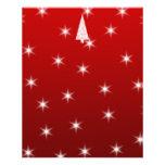 Árbol de navidad blanco con las estrellas en rojo tarjeta publicitaria