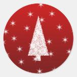 Árbol de navidad blanco con las estrellas en rojo pegatinas
