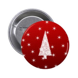 Árbol de navidad blanco con las estrellas en rojo pin redondo 5 cm