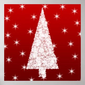 Árbol de navidad blanco con las estrellas en rojo póster