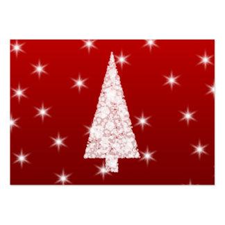 Árbol de navidad blanco con las estrellas en rojo tarjeta personal