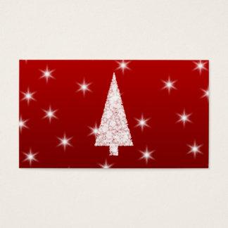 Árbol de navidad blanco con las estrellas en rojo tarjeta de negocios