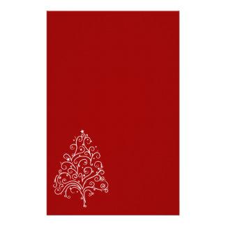 Árbol de navidad blanco en los efectos de escritor papelería