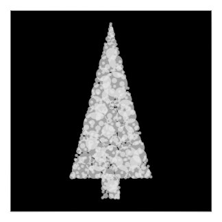 Árbol de navidad blanco. En negro. Elegante Impresiones