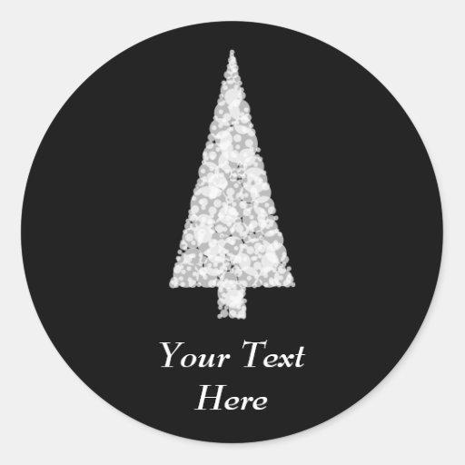 Árbol de navidad blanco. En negro. Elegante Pegatinas