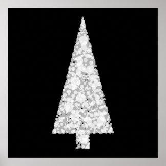 Árbol de navidad blanco. En negro. Elegante Póster