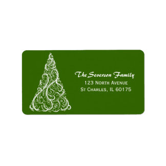 Árbol de navidad blanco en remite verde etiquetas de dirección