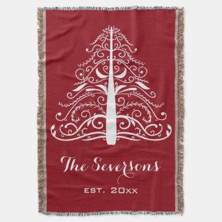 Árbol de navidad blanco en rojo manta